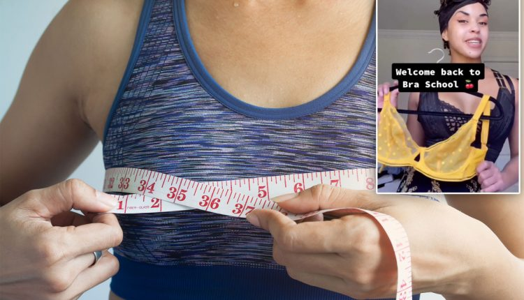Lingerie model helps women find the right bra fit in